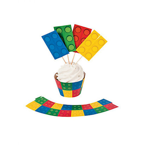 Blocks Party Cupcake Wraps and Picks