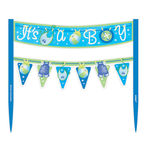 Clothesline It's a Boy Baby Shower Cake Topper
