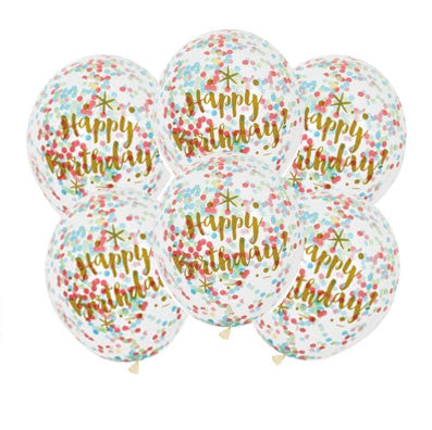 Happy Birthday Brights Clear Confetti Latex Balloons
