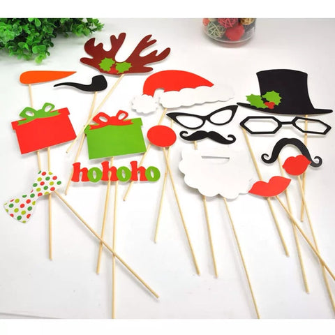 17-pc Christmas Photo Booth prop sticks