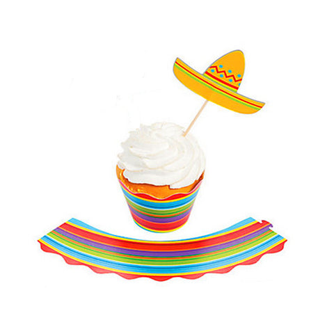 Fiesta Party Cupcake Wraps and Picks