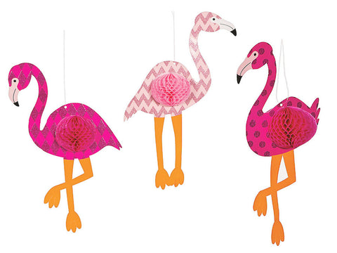 Hanging Flamingo Honeycomb Decorations