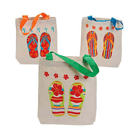 Flip Flops Canvass Tote Bags (8 ct)