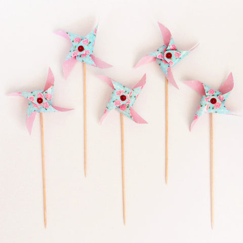 Floral Pinwheel picks (5 ct)