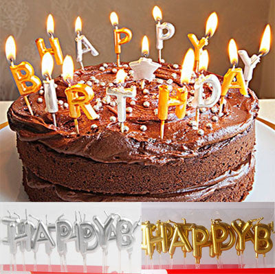 Metallic Happy Birthday Letter Candle Set (click for more colors)