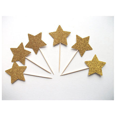 Glitter Gold Star picks (20 ct)