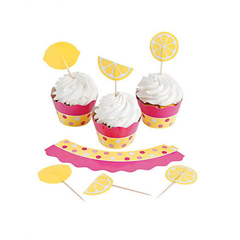Lemonade Party Cupcake Wraps and Picks