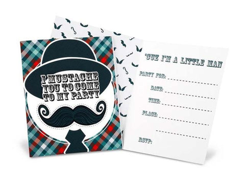 Preppy Stache Invitations (8 ct)