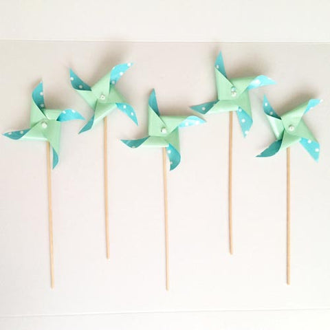 Mint Green Dots Pinwheel picks (5 ct)