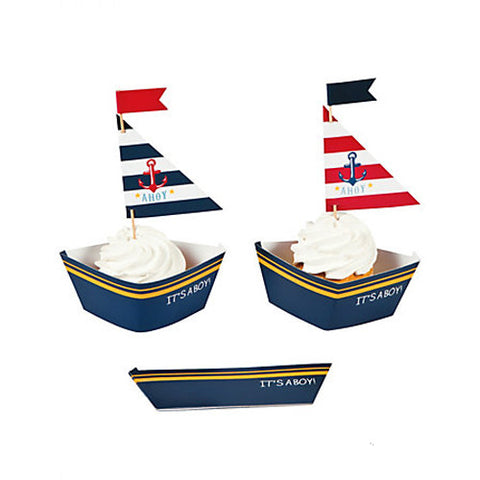 Nautical Baby Shower Cupcake Wraps and Picks