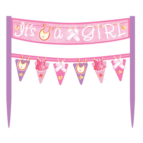 Clothesline It's a Girl Baby Shower Cake Topper