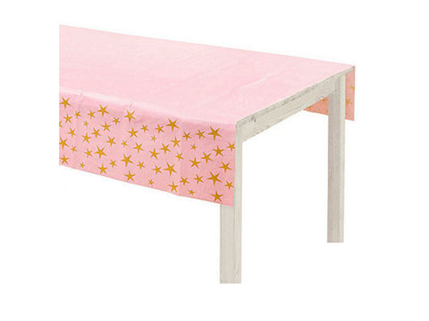 Pink with Gold Stars Table Cover