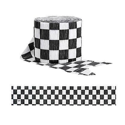 Black and White Checkered Crepe Streamer