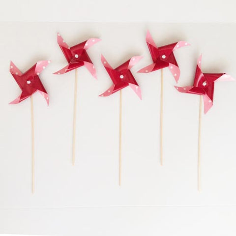Red Dots Pinwheel picks (5 ct)