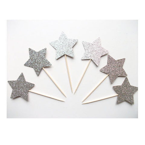 Glitter Silver Star picks (24 ct)