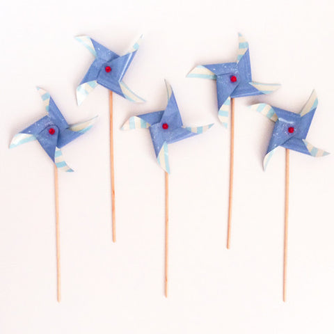 Blue Stripes Pinwheel picks (5 ct)