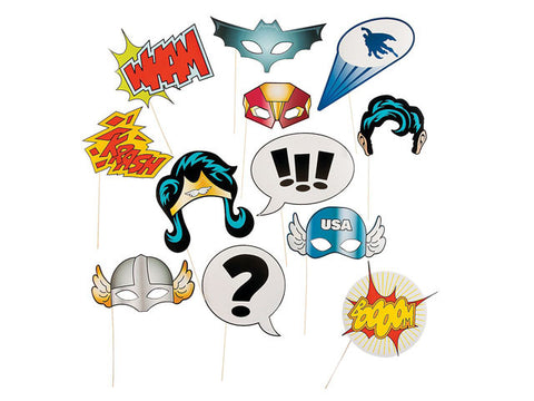 12-pc Superhero Party Photo Booth prop sticks