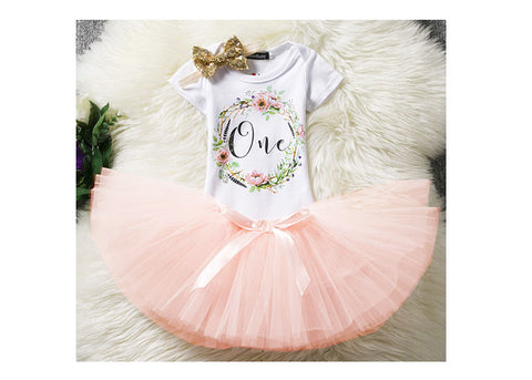 First Birthday One Wreath Two-Piece Tutu Set (click for more colors)
