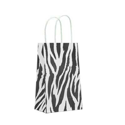 Zebra Stripes paper bags - 10 ct - with handles