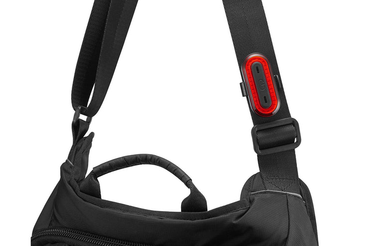 Gemini Juno 100 Road tail light vertically mounted on a bicycle messenger bag