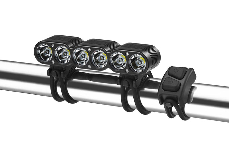 Gemini Titan 2500 OLED bike light mounted on a bicycle handlebar