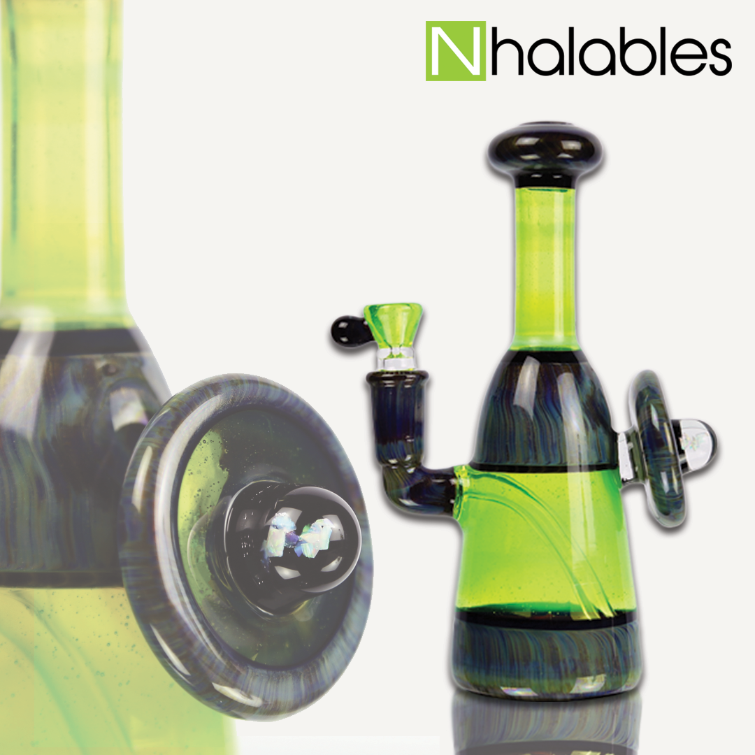 Nhalables Social Post showing a slyme green banger hanger by Geos Glass.