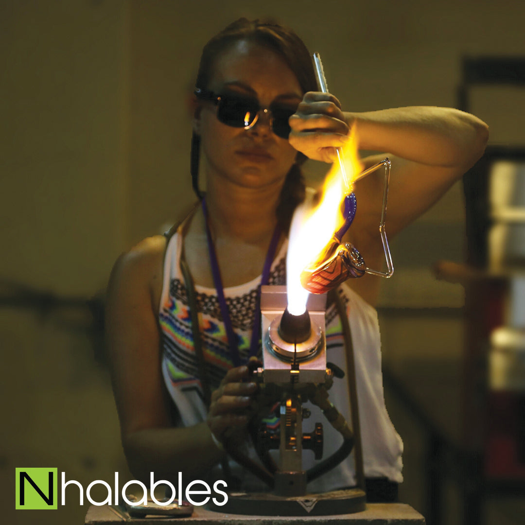 Nhalables Social Post Showing Ashely Ann Austin (Triple A Glass , AAA) doing her Glass Blowing Demo at the Michigan Glass Project 2016 in Detroit Michigan