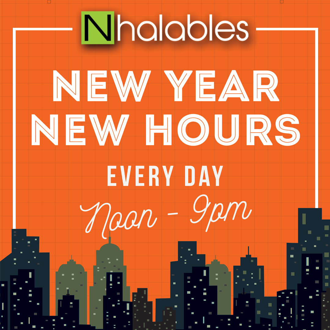Nhalables Social Post announcement Saying New Year. New Hours . Noon to 9pm
