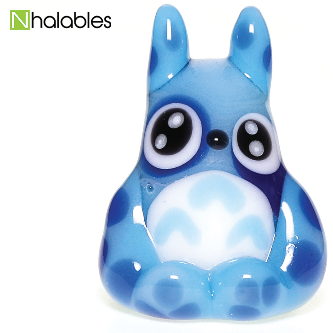"Nhalables Social Post Image for a blue ""Totoro glass Pendant/necklace"" by Ohio based glassblower ""Kawaii Glass"""