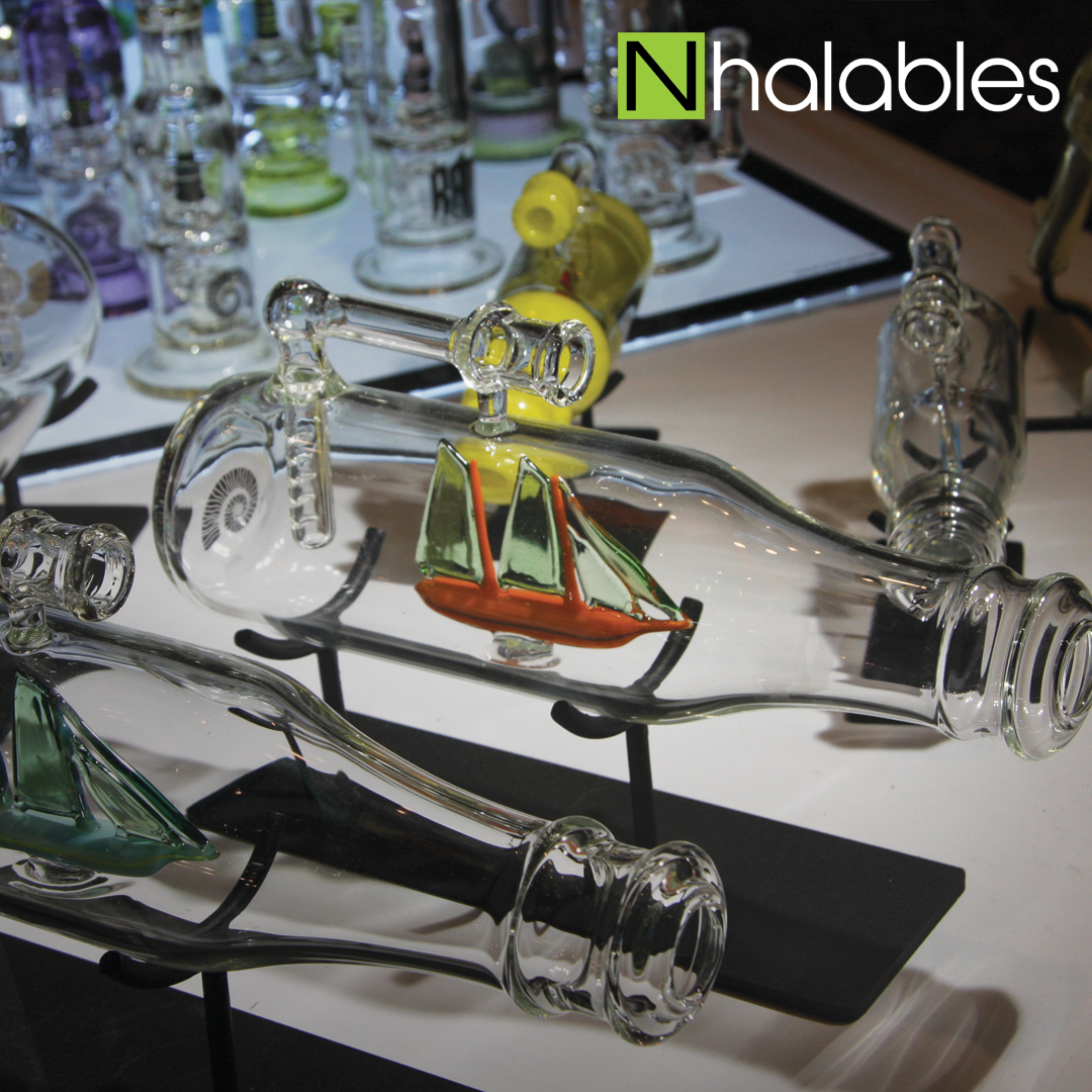 Nhalables Social Post showing Glassblowers Mickelsen Studios at their booth at American Glass Expo Vegas 2017