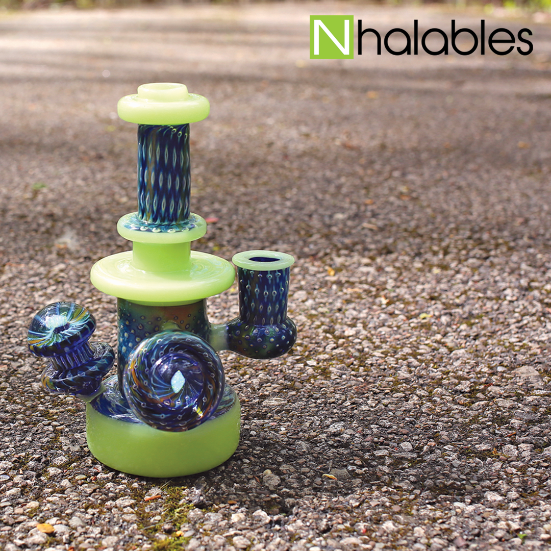 Nhalables Social Post Showing a Key Line Bubble Trap Oil Rig Banger Hangers by Cleveland Glassblower Durin K.