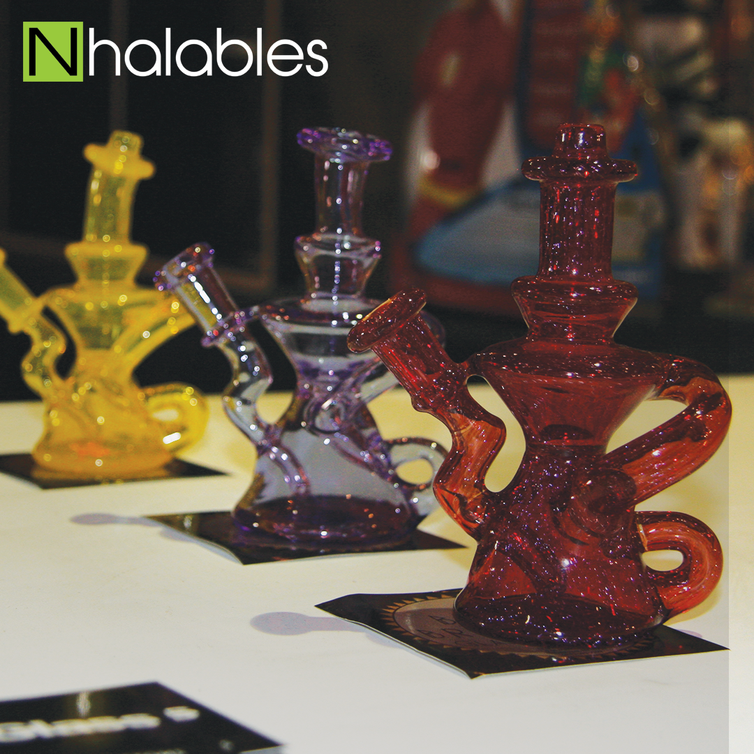 Nhalables Social Post Showing Gumby Glass's artist Booth at American Glass Expo in Vegas 2017