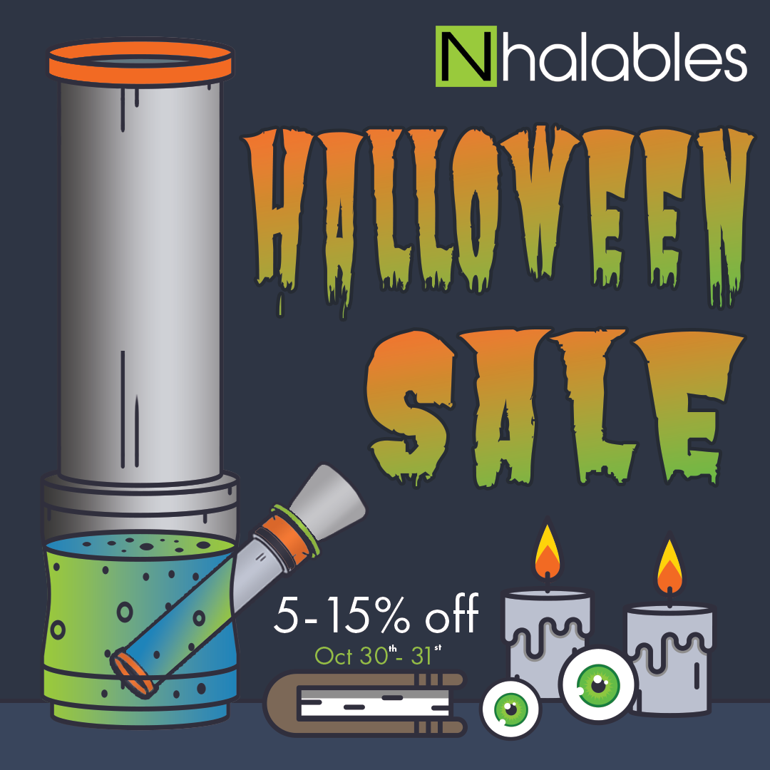 Nhalables Social Post for Our Halloween 2017 Sale.  Everything instore and Online 5-15% off.   Picture shows a clipart waterpipe and some spooky candles and loose eyeballs