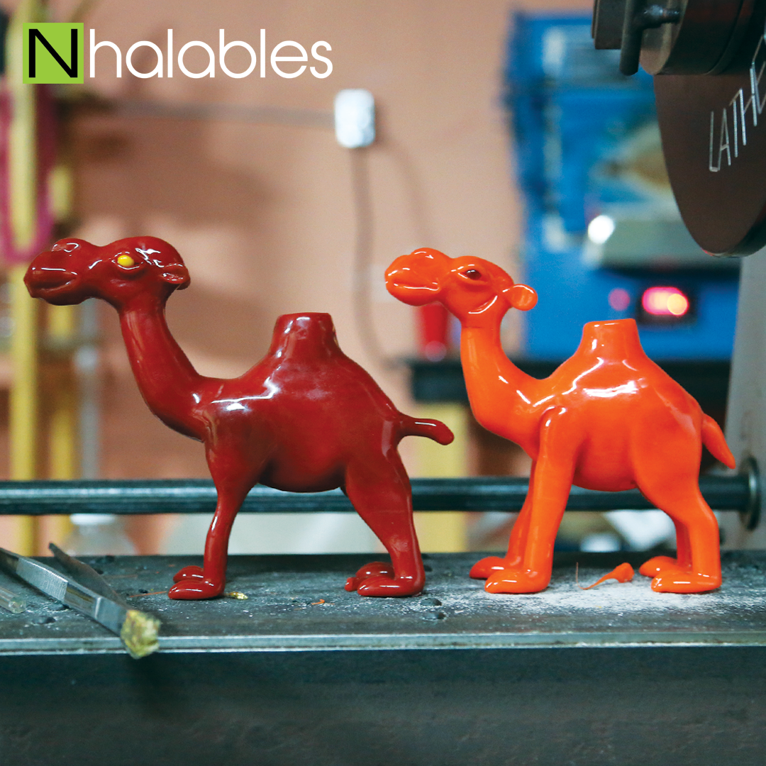 Nhalables Social Post showing a few glass camel rigs by Dayton, Ohio based artist 143Glass.