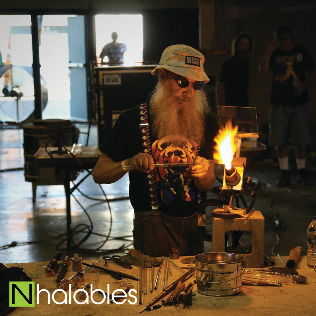 Nhalables Social Post showing Bob Snodgrass doing His Glassblowing Demo at Michigan Glass Project 2016 in Detroit Michigan