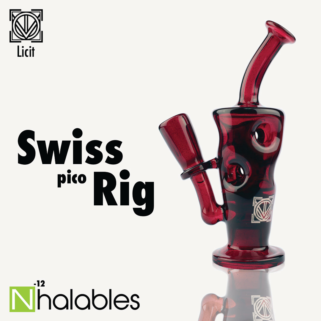 Nhalables Social Post showing a Licit Glass Swiss Pico Oil Rig.  With Red Elvis Colored Glass.