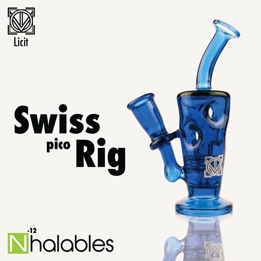 Nhalables Social Post showing a Licit Glass (Virginia, USA) Cobalt Colored Swiss Pico Rig
