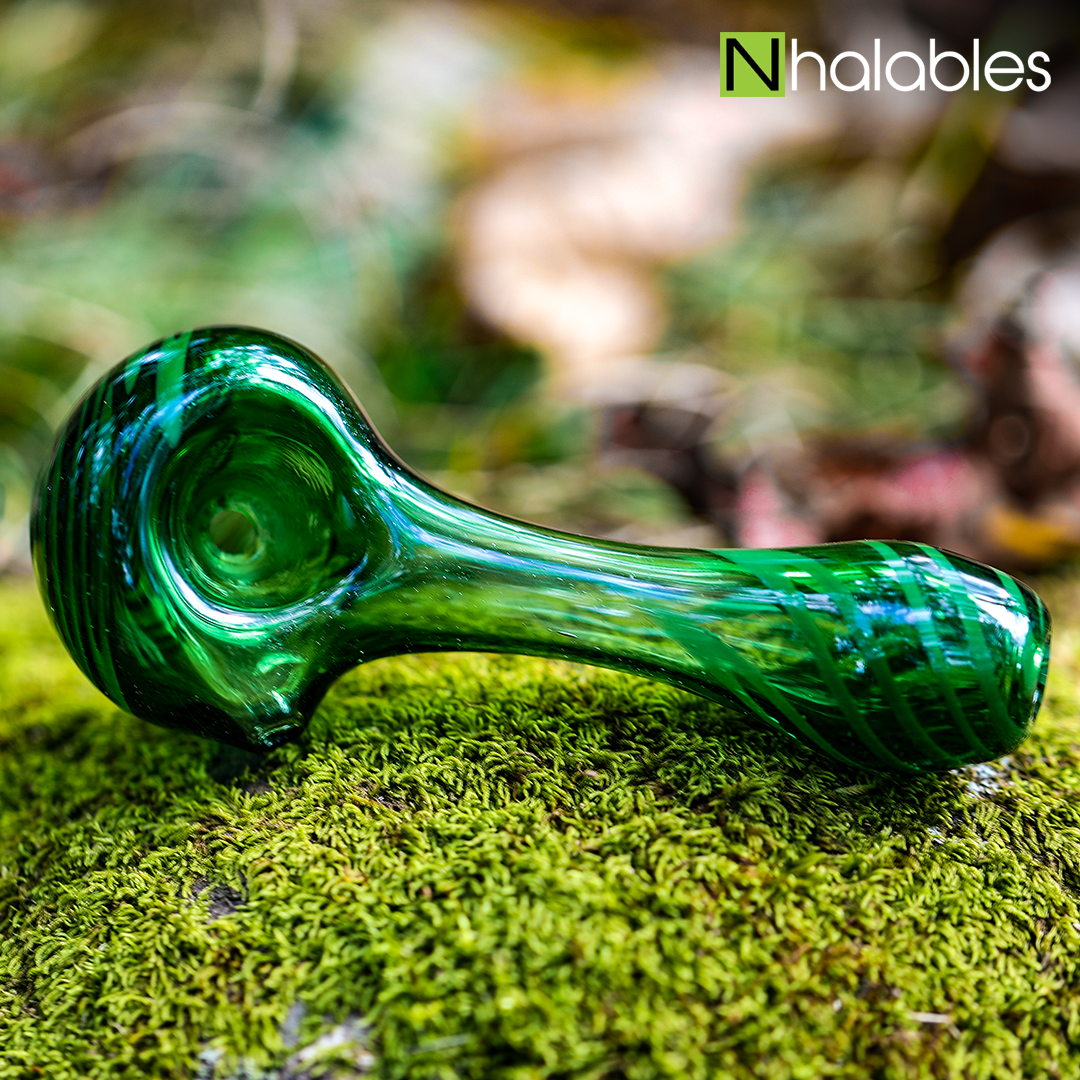 Nhalables Social Post for a Sparkle Green Hand Pipe by Cleveland, Ohio Based artist BTS Glass (Formally known as Slack Glass)