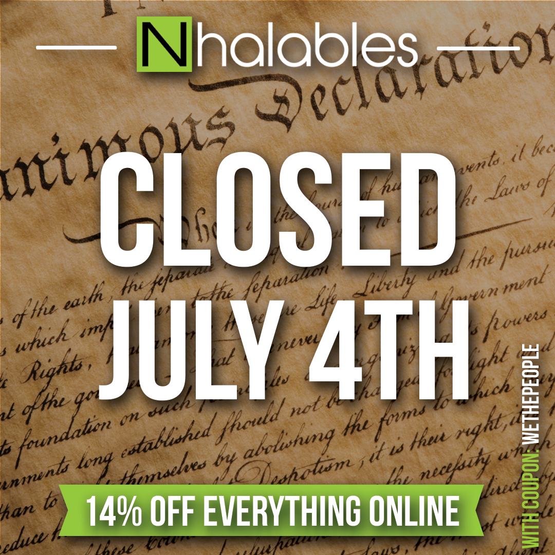 Nhalables Social Post Showing white text saying Closed July 4th 2018 with the Declaration of Independence behind it.  14% off with Coupon Code WETHEPEOPLE
