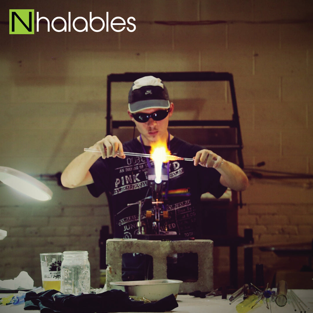 Nhalables Social Post showing Aric Bovie Doing his demo at the Michigan Glass Project 2016 in Detroit Michigan