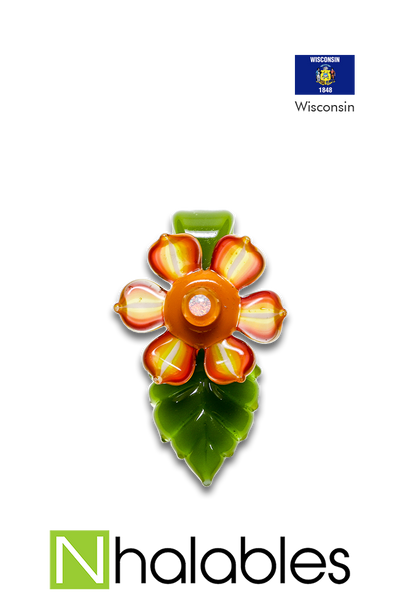 Nhalables Product Image for a Mars Glass Leaf Pendant with Kinectic Flower