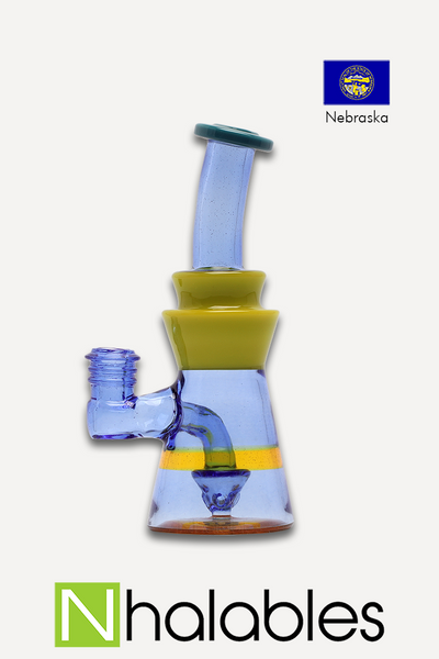 Nhalables Product Image for a Big J 10mm Banger Rig thats Terps , Blue Dream, and Roswell Colored Glass