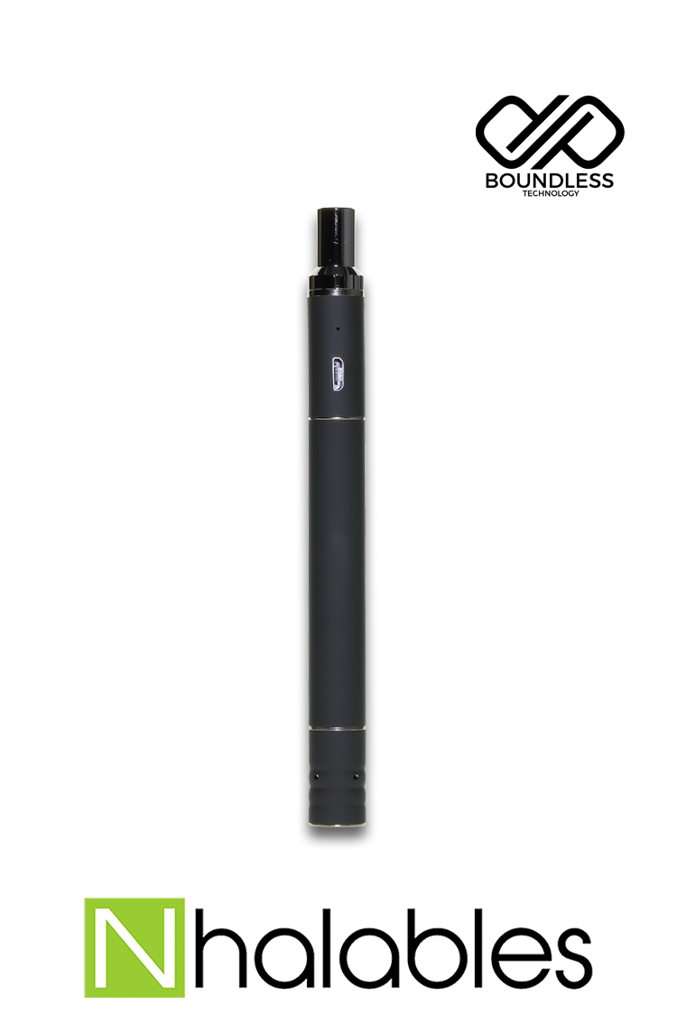 "Nhalables Product view of a Black Buttonless Electronic Vapor ""Terp Pen"" by ""Boundless Technology"""