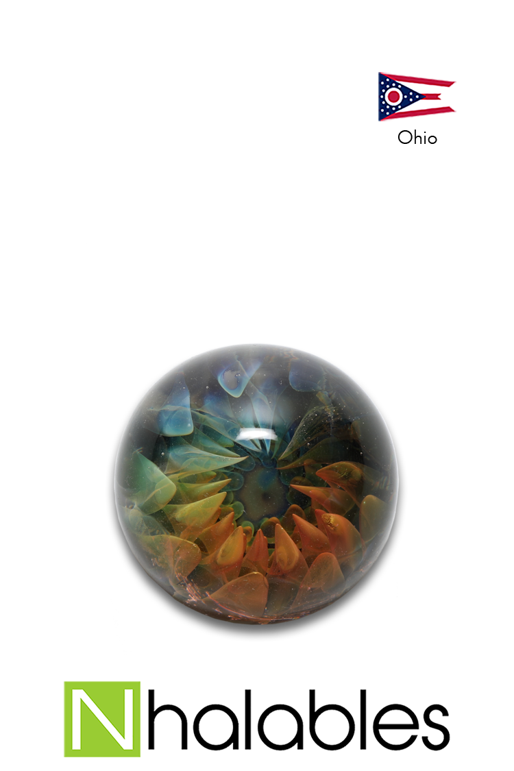 Nhalables Product Image for a Gold/Silver Fumed Marble by Harry Courtright (Wild Hare Glass / Harry_Marbleman) an Ohio Based Artist