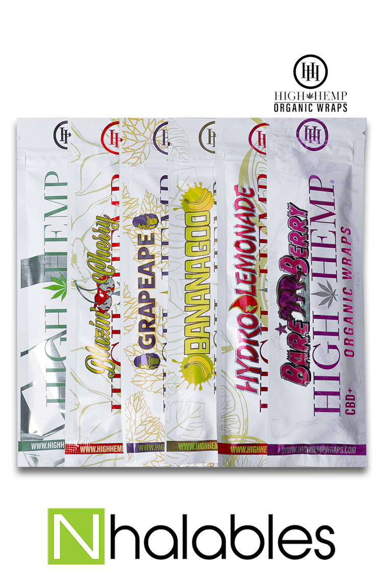 Nhalables Product Image for various flavors of High Hemp - All Natural Organic Hemp Wraps