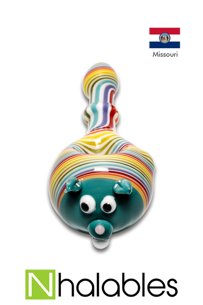 Nhalables Product Image for a Missouri based JEMglass (JamieErinMorse) Animal capped rainbow lined hand pipe