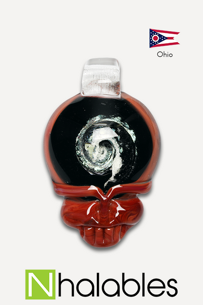 Nhalables Product View Image for a red Steal your Face (Stealie) Pendant by ohio based artist Lucky Glass (Jack Walker)