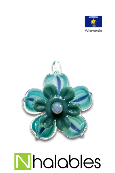 Nhalables Product Image for a Mars Glass Blue Pendant with Kinetic Flower
