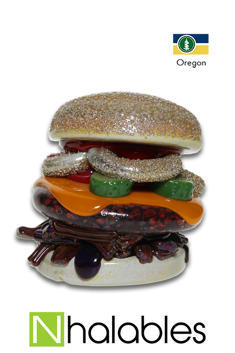 "Nhalables Product Image for a Stacked Pulled Pork, Cheeseburger, Pickles, and Onion ring Carb Cap Pendant by Oregon based glassblower Ryan Rosburg ""Rosburg Glass"""