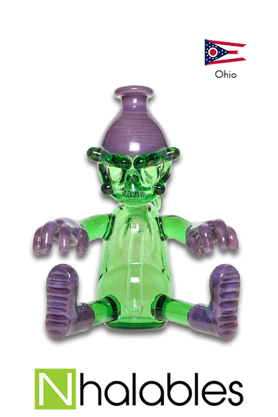 "Nhalables Product Image for a ""Wild Berry and CFL Reformulated Kryptonite"" Colored ""Worker"" Rig by Cleveland based Glassblower ""Tuskum Glass"""